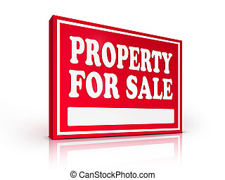 Real Estate Sign - Property For sale on white background. 2D...