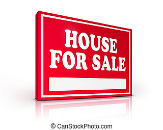Real Estate Sign - House For sale on white background 2D...