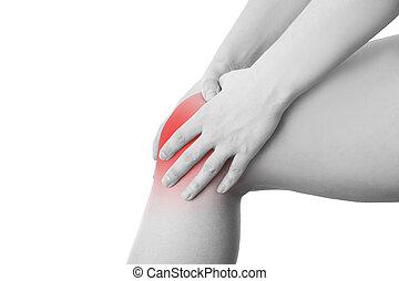 joelho, mulher, dor, isolado