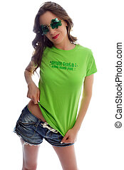 kiss me I\'m Irish - attractive young woman all dressed up...