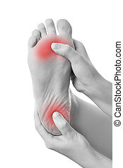 Pain in the female foot - Pain in the foot. Massage of...