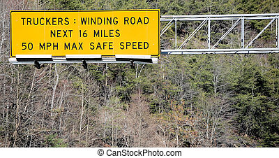 Truckers WInding Road Sign