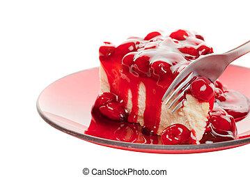 Cheesecake on white