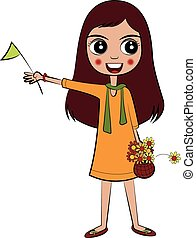 Vector Girl with Flag