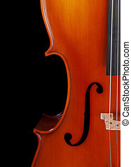 Cello closeup - Closeup of a cello isolated on black