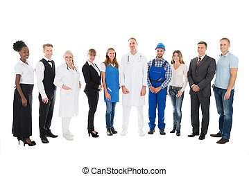 Portrait Of People With Various Occupations - Full length...