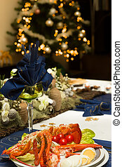 Christmas table with lobster