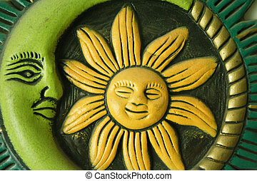 Mexican art sun and moon