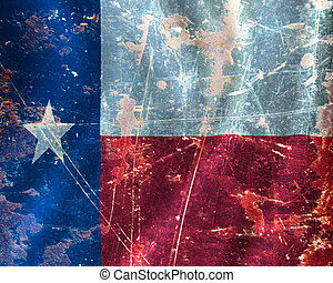 Texan flag waving in the wind with some damage