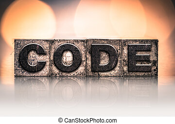 Code Concept Vintage Letterpress Type - The word CODE...