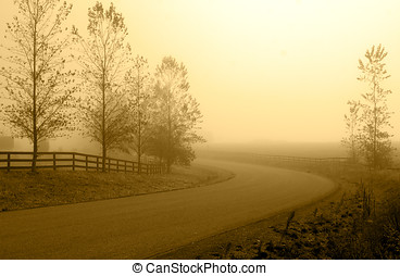 Country road in morning haze - A secluded country road in...