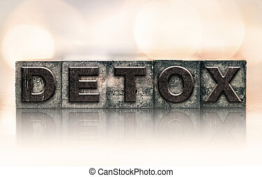 "Detox Concept Vintage Letterpress Type - The word ""DETOX""..."