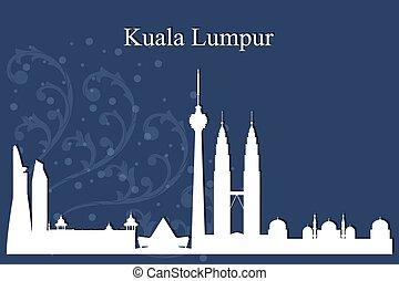Kuala Lumpur city skyline silhouette on blue background