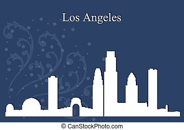 Los Angeles city skyline silhouette on blue background