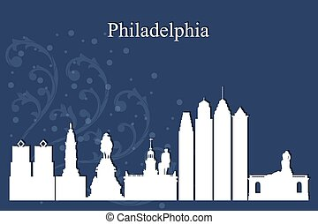 Philadelphia city skyline silhouette on blue background,...