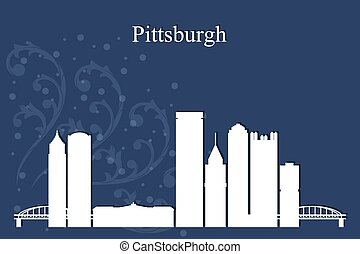 Pittsburgh city skyline silhouette on blue background,...