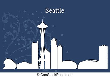 Seattle city skyline silhouette on blue background