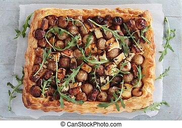 fetta shallot tarte - fetta and shallot puff pastry tarte