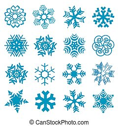 Snow flakes - Set of original blue snow flakes Vector...