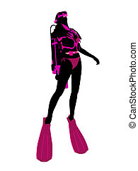 Scuba Diving Illustration Silhouette