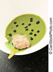wheatgrass soup with sweetbreads