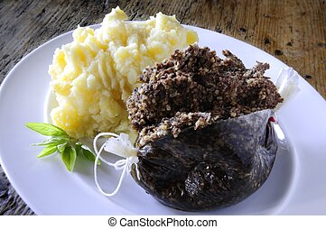 haggis plated meal - traditional haggis plated meal