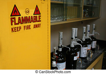 Flammable - A flammable locker with bottles on counter
