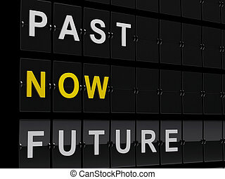 3d Airport board with past, now and future words.