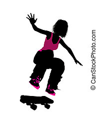 Female Skateboarder Silhouette - Female skateboarder...