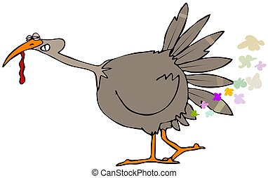Turkey farts - Illustration depicting a brown turkey...