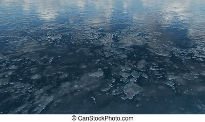 Flight over frozen water surface - Natural winter background...