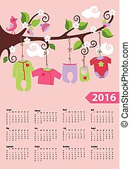 American calendar 2016 year.Baby girl fashion - Calendar...