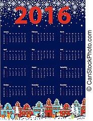 Calendar 2016 year.Little town,winter night