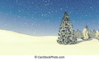 Firs among snowdrifts at snowfall - Simple winter scene with...