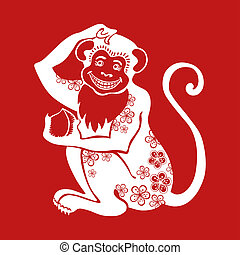 Monkey Chinese zodiac sign with flower ornament - Chinese...