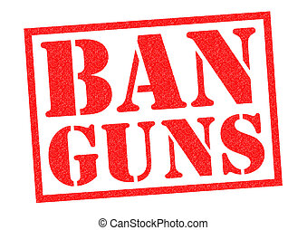BAN GUNS red Rubber Stamp over a white background