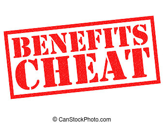 BENEFITS CHEAT red Rubber Stamp over a white background