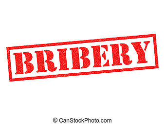 BRIBERY red Rubber Stamp over a white background