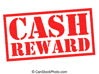 CASH REWARD red Rubber Stamp over a white background.