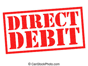 DIRECT DEBIT red Rubber Stamp over a white background