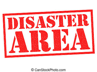 DISASTER AREA red Rubber Stamp over a white background