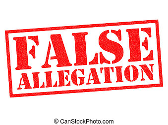 FALSE ALLEGATION red Rubber Stamp over a white background