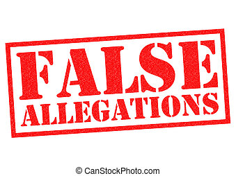 FALSE ALLEGATIONS red Rubber Stamp over a white background
