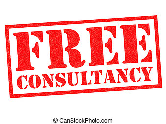 FREE CONSULTANCY red Rubber Stamp over a white background.