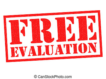 FREE EVALUATION red Rubber Stamp over a white background.