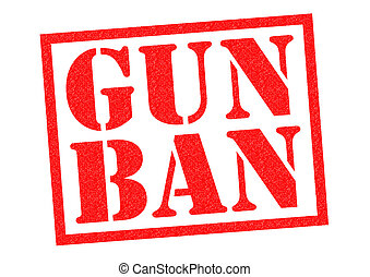 GUN BAN red Rubber Stamp over a white background