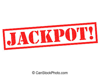 JACKPOT red Rubber Stamp over a white background