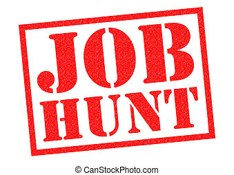 JOB HUNT red Rubber Stamp over a white background