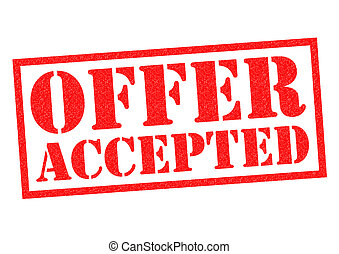 OFFER ACCEPTED red Rubber Stamp over a white background