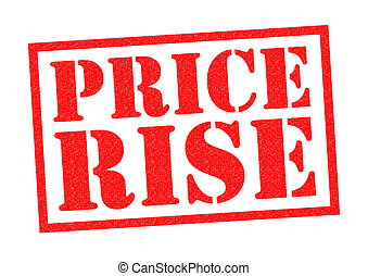PRICE RISE red Rubber Stamp over a white background